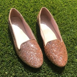 Shoes - Rose Gold Glitter Loafers, Glitter Flats, 4 Colors